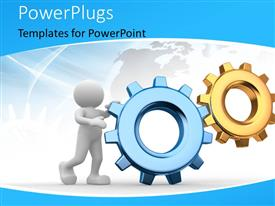 PowerPlugs: PowerPoint template with human character with COG gear wheels and map in background