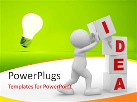 PowerPoint template displaying human character and cubes with keyword idea, light bulb in background