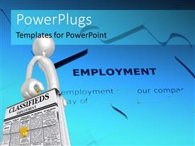 PowerPlugs: PowerPoint template with human character holding classifieds briefcase with employment puzzle in the background