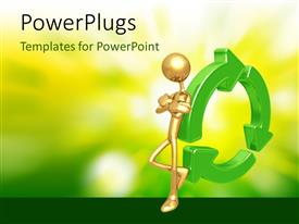 PowerPlugs: PowerPoint template with human character lean over recycle symbol with nature in the background