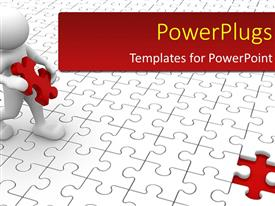 PowerPlugs: PowerPoint template with human character and missing puzzle piece with puzzle flooring