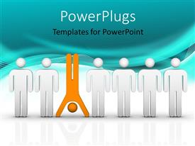 PowerPlugs: PowerPoint template with human character in orange different from others in white with blue waves in background