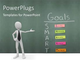 PowerPlugs: PowerPoint template with human character pointing to smart Goals specific measurable attainable relevant time bound all on sticky notes