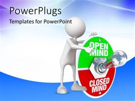 PowerPoint template displaying human character pointing towards metal toggle switch with plate reading open mind and closed mind