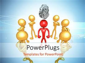 PowerPlugs: PowerPoint template with human character in red at the center with gears on top and golden characters around him