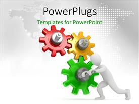PowerPlugs: PowerPoint template with human character running the cog gear wheels with map in the background