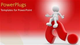 PowerPoint template displaying human character sitting on a question mark with red color