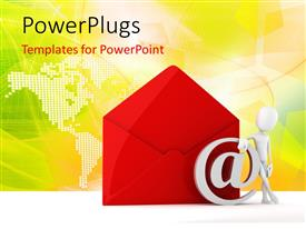 PowerPlugs: PowerPoint template with human character standing next to mail envelope and symbol with world map in the background