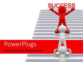 PowerPlugs: PowerPoint template with human character standing one over the other with leader in red on top with stairs to success in the background