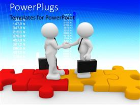PowerPlugs: PowerPoint template with human character standing on puzzle pieces and shaking hands with financial figures in background