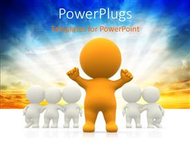 PowerPlugs: PowerPoint template with human character in yellow stands out from others in white with glowing sky in the background