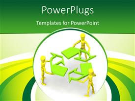 PowerPoint template displaying human characters holding recycle symbol with green and yellow curves