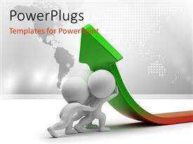 PowerPlugs: PowerPoint template with human characters raising the arrow with world map in the background