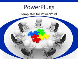 PowerPlugs: PowerPoint template with human characters at a round table and colored puzzle pieces at the center of the table with white color