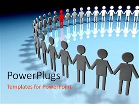 PowerPlugs: PowerPoint template with human circle of black humanoid with one in red illustrating teamwork and unity