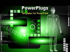 PowerPlugs: PowerPoint template with a human depiction in 3D with abstract background