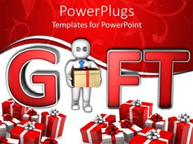 PowerPoint template displaying human figure holding a gift with lots of wrapped gifts around