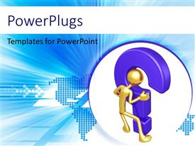 PowerPlugs: PowerPoint template with human figure holding question mark with world map