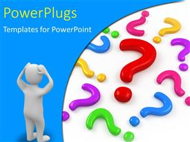 PowerPlugs: PowerPoint template with human figure looks confused with different colored questions marks