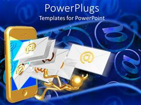 PowerPlugs: PowerPoint template with human figure and lots of Emails flying out of a gold colored phone