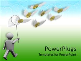 PowerPoint template displaying human figure with a net catching lots of coins with wings