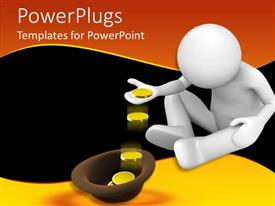 PowerPoint template displaying human figure sitting and counting gold coins into a hat
