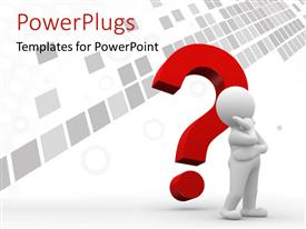 PowerPlugs: PowerPoint template with human figure thinking with a red question mark and grey checks