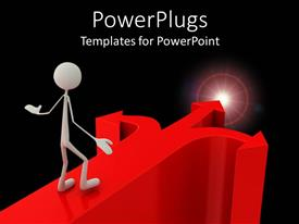 PowerPlugs: PowerPoint template with human figure walking on a big red arrow to a light
