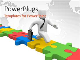 PowerPlugs: PowerPoint template with human figure walking on lots of aranged colorful puzzle pieces