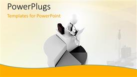 PowerPlugs: PowerPoint template with human figure working on a laptop on a white background