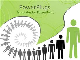 PowerPoint template displaying human figures forming spiral in white and green background