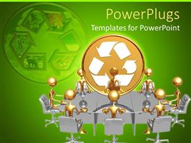 PowerPoint template displaying human figures having a meeting with a gold recycle symbol