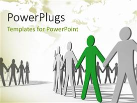 PowerPlugs: PowerPoint template with human figures holding hands to create a more powerful chain in circle