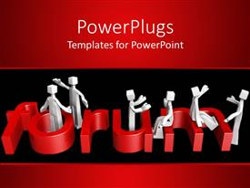PowerPlugs: PowerPoint template with human figures sitting around a red 3D  Forum text