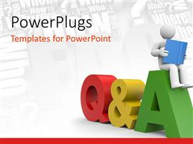 PowerPlugs: PowerPoint template with human figures sitting with a book on question and answer sign and different questions