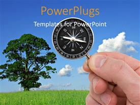 PowerPlugs: PowerPoint template with a tree with compass and clouds in the background