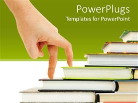 PowerPlugs: PowerPoint template with human hand going up as a success on a different set of books