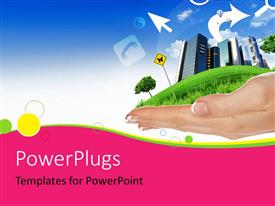 PowerPlugs: PowerPoint template with beautiful city on grass hill in human hand over colorful background