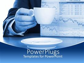 PowerPlugs: PowerPoint template with human hand holding a cup with a newspaper and saucer