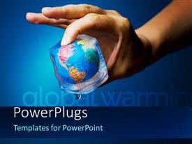 PowerPlugs: PowerPoint template with human hand holding earth globe frozen into thawing ice cube, global warming concept