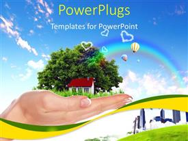 PowerPlugs: PowerPoint template with human hand holding houses surrounded by nature against blue sky and rainbow