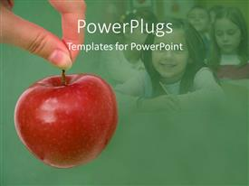 PowerPlugs: PowerPoint template with human hand holding a red apple with smiling kids