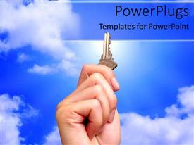 PowerPlugs: PowerPoint template with human hand holding up a key with clear blue sky