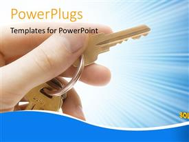 PowerPlugs: PowerPoint template with man holds key in hand with SOLUTIONS over cog wheel