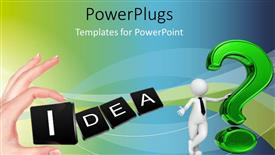 PowerPoint template displaying 3D man lean on large question mark symbol