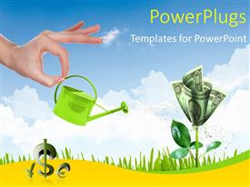 PowerPlugs: PowerPoint template with human hand with a pot watering growing money tree, sky is