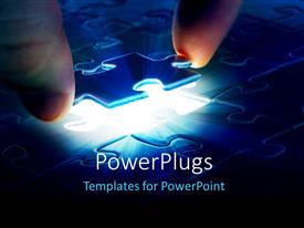 PowerPlugs: PowerPoint template with human hand trying to join the missing puzzle piece to complete the jigsaw puzzle