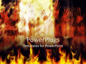 PowerPlugs: PowerPoint template with human hands in flames depicting fierce representation of hell people burning in fire flames