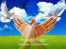 PowerPoint template displaying human hands forming a dove with two doves on the background