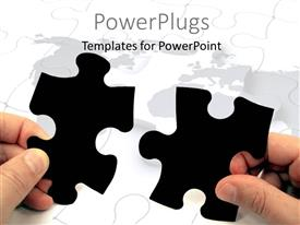 PowerPlugs: PowerPoint template with human hands holding pieces of a puzzle over world map
